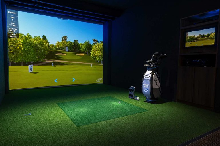 Golf Simulator with launch monitor in hard panel structure